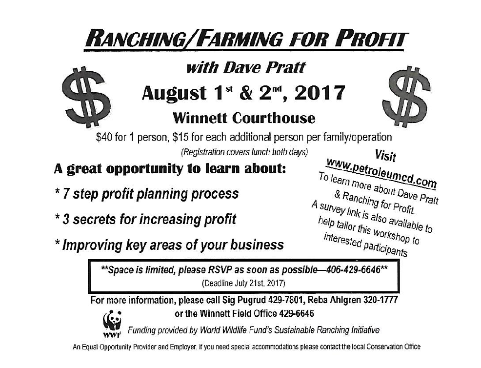 Ranching/Farming For Profit @ Winnett Courthouse