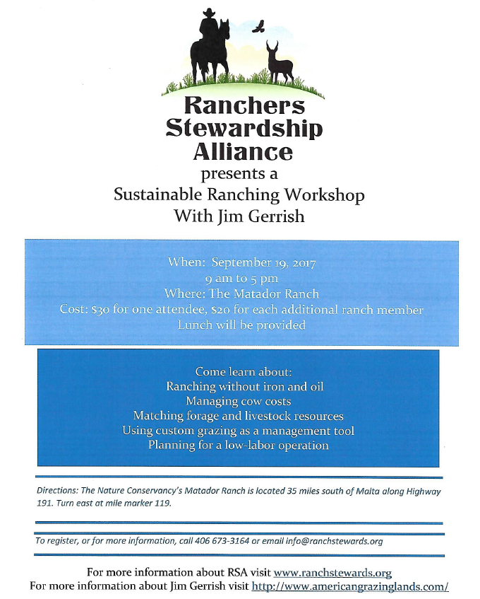 Sustainable Ranching Workshop with Jim Gerrish @ The Matador Ranch