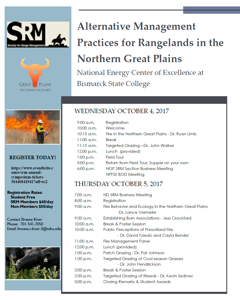Society for Range Management - Northern Great Plains Section Annual Symposium @ National Energy Center of Excellence, Bismarck State College